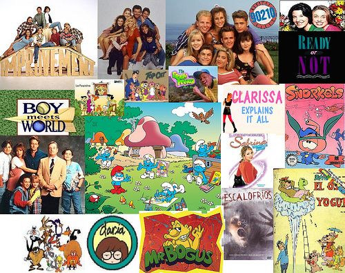 popular tv shows collage. have favourite 90s tv show posters hung on walls, or even them playing popular shows collage