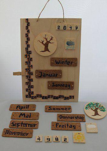 Dauerkalender Jahreskalender Kalender Ewiger Kinder Wandkalender  Jahreszeiten Monate Wochentage Bilder Montessori Waldorf Öko Tage Holz Kork