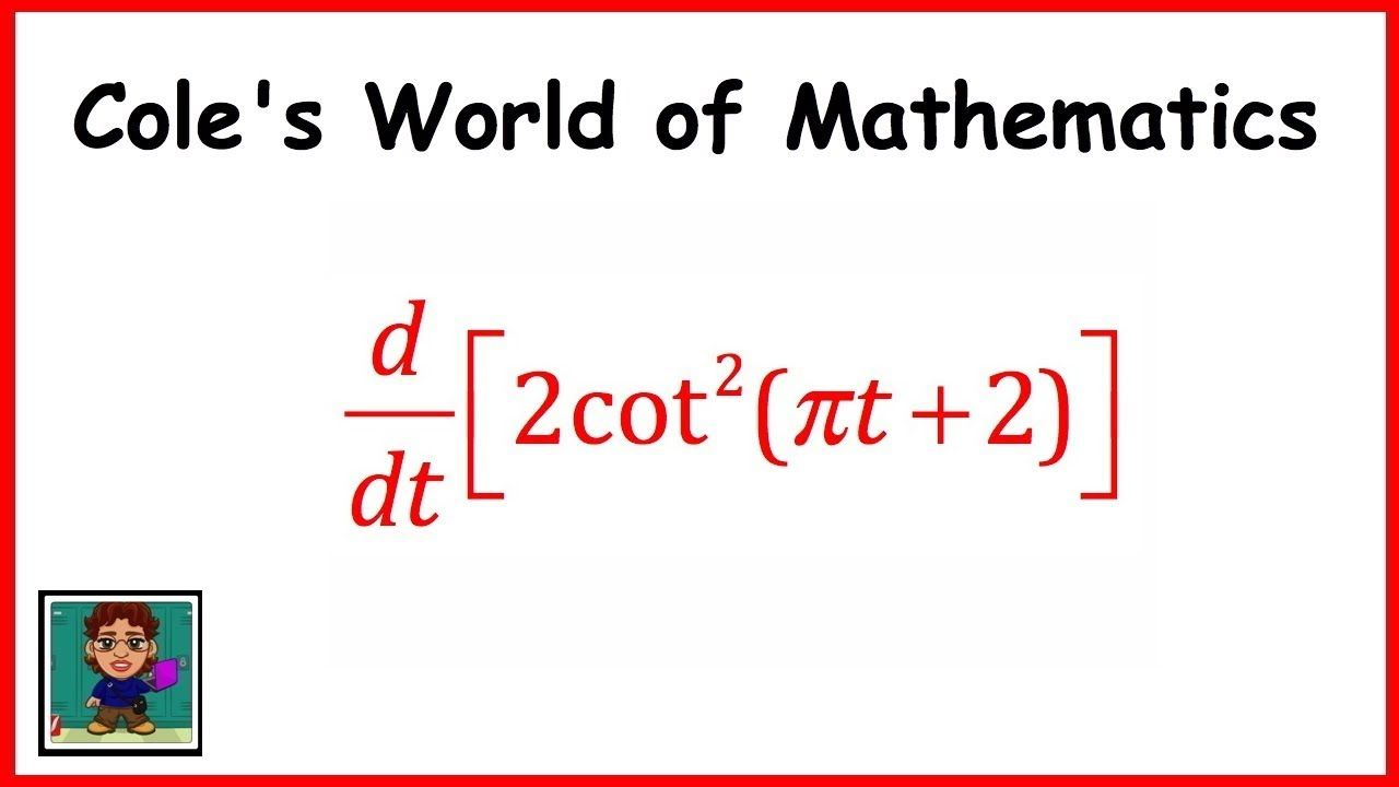 Derivative Of 2cot 2 Pt 2 Multiple Chain Rules Calculus 1 Calculus Chain Rule Email Subject Lines