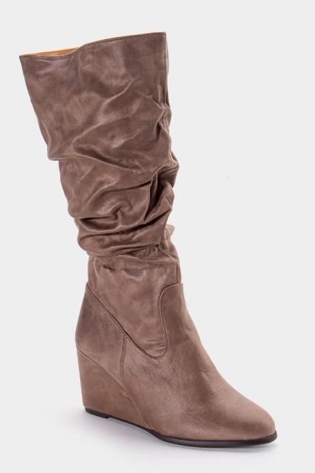 The L4L Jewel Scrunched High Shaft Wedge Boot features distressed suede boots.