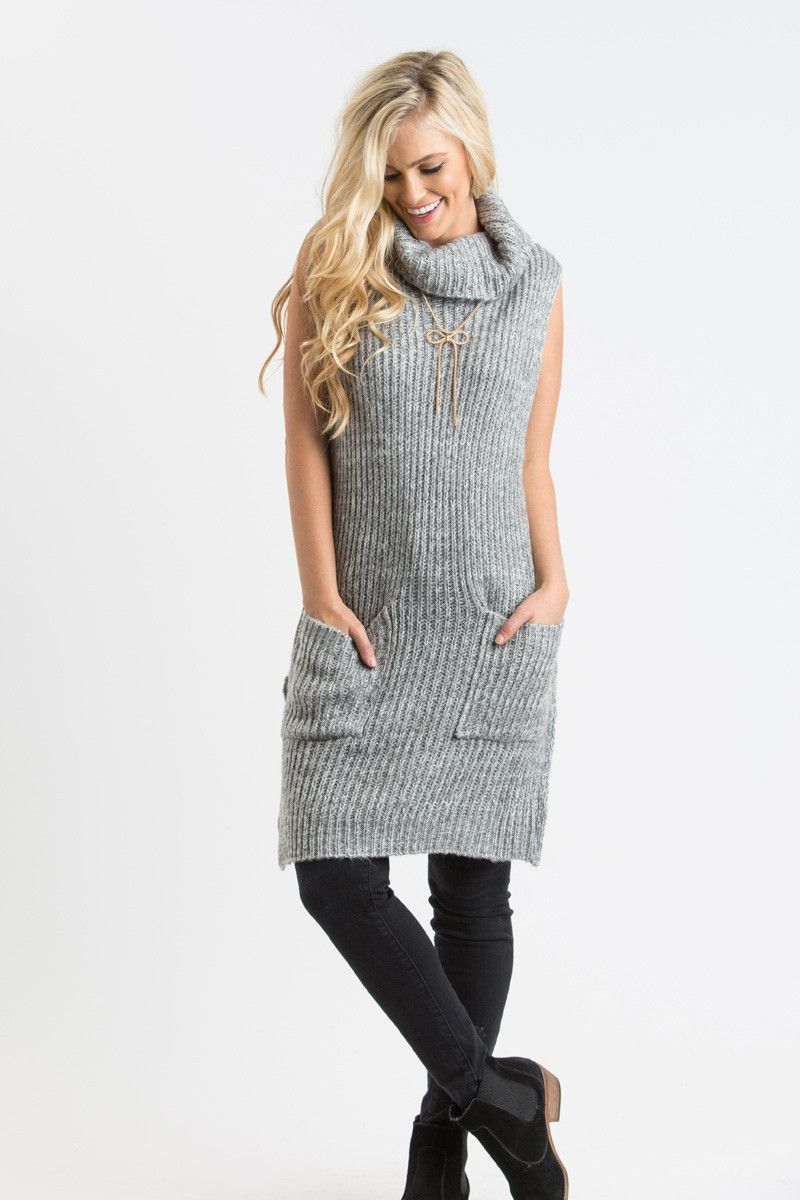 Vanna Grey Knit Turtleneck Sweater Vest by LUSH | LUSH, Grey ...