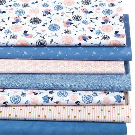 """Patchwork und Quiltpaket """"Vögel"""", jeansblau/rosa online"""