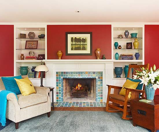 Red Living Rooms Fireplace Tiles Red Living Rooms And Built Ins