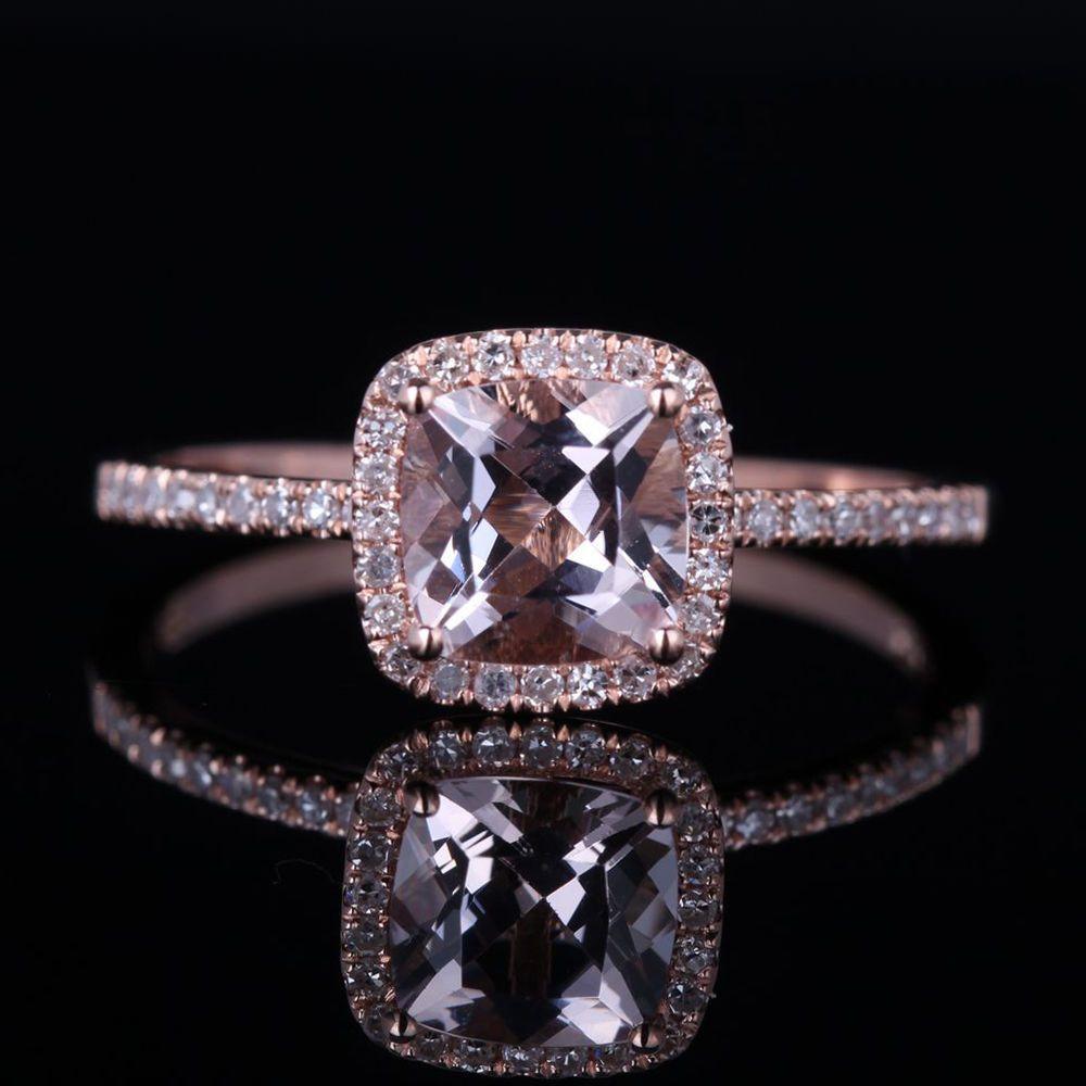 Morganite Pave Diamond Prongs Solid 10K Rose Gold Engagement Wedding ...