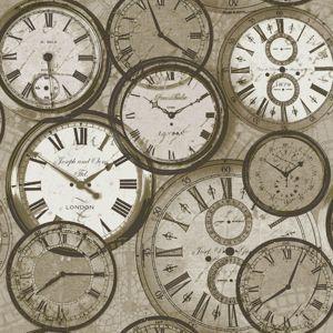 Grandeco Time Neutral Wallpaper Retro WallpaperClock