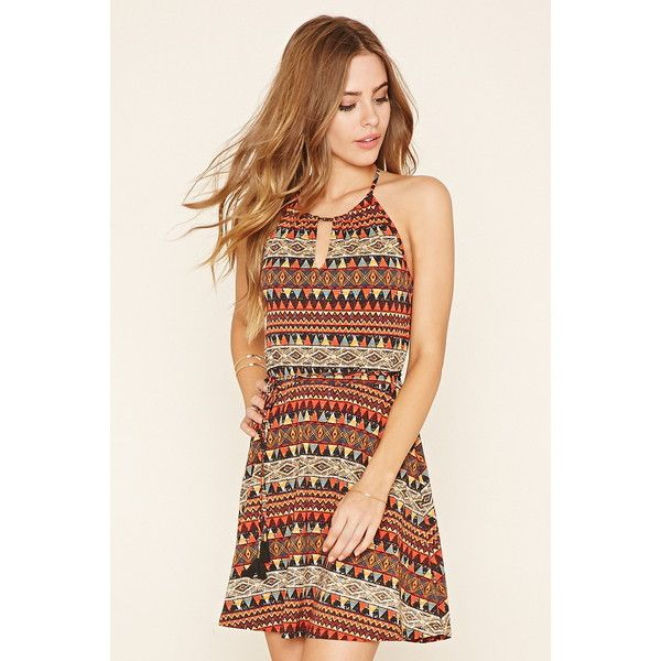 15466a6ac04 Forever 21 Women s Tribal-Inspired Skater Dress ( 16) ❤ liked on Polyvore  featuring dresses