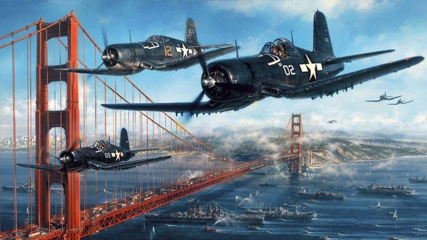 Download Wallpaper ID 2047303 - Desktop Nexus Aircraft Corsairs over the Golden Gate Bridge