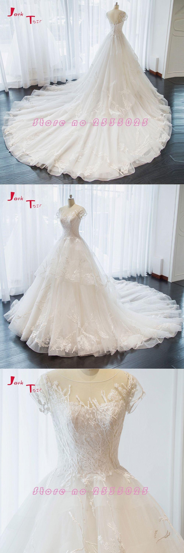 Jark tozr new special trouwjurken short sleeve appliques lace a