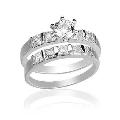 5mmRound Cut Center Stone CZ Wedding Ring Set 14KT White Gold