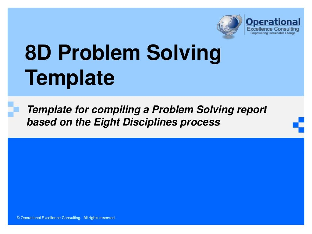 8d Problem Solving Template By Operational Excellence