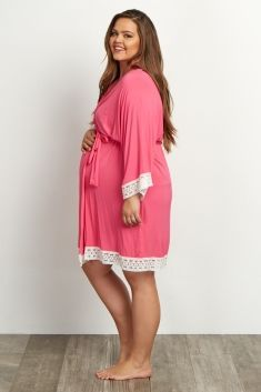 3fb32d6a8bb Fuchsia Lace Trim Plus Size Delivery Nursing Maternity Robe