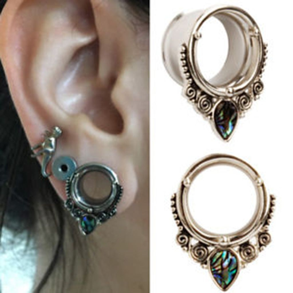 2 Pcs Stainless Steel Shell Ear Expanders Water Drop Ear Plugs Tunnels 6mm 8mm 10mm 12mm 14mm 16mm 18mm Tunnels And Plugs Body Piercing Jewelry Ear