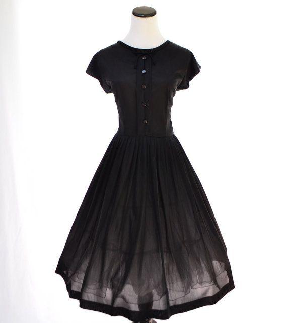 Black Vintage Full Skirt Dress // 50s Vintage by CoolMintMoon, $67.00