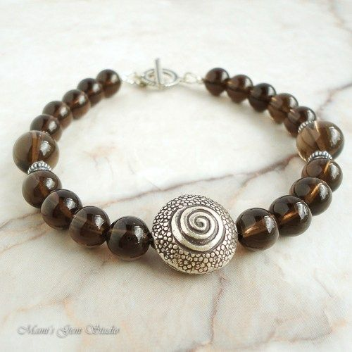 Smoky Quartz Bracelet for Men in Sterling Silver, Handcrafted Jewelry