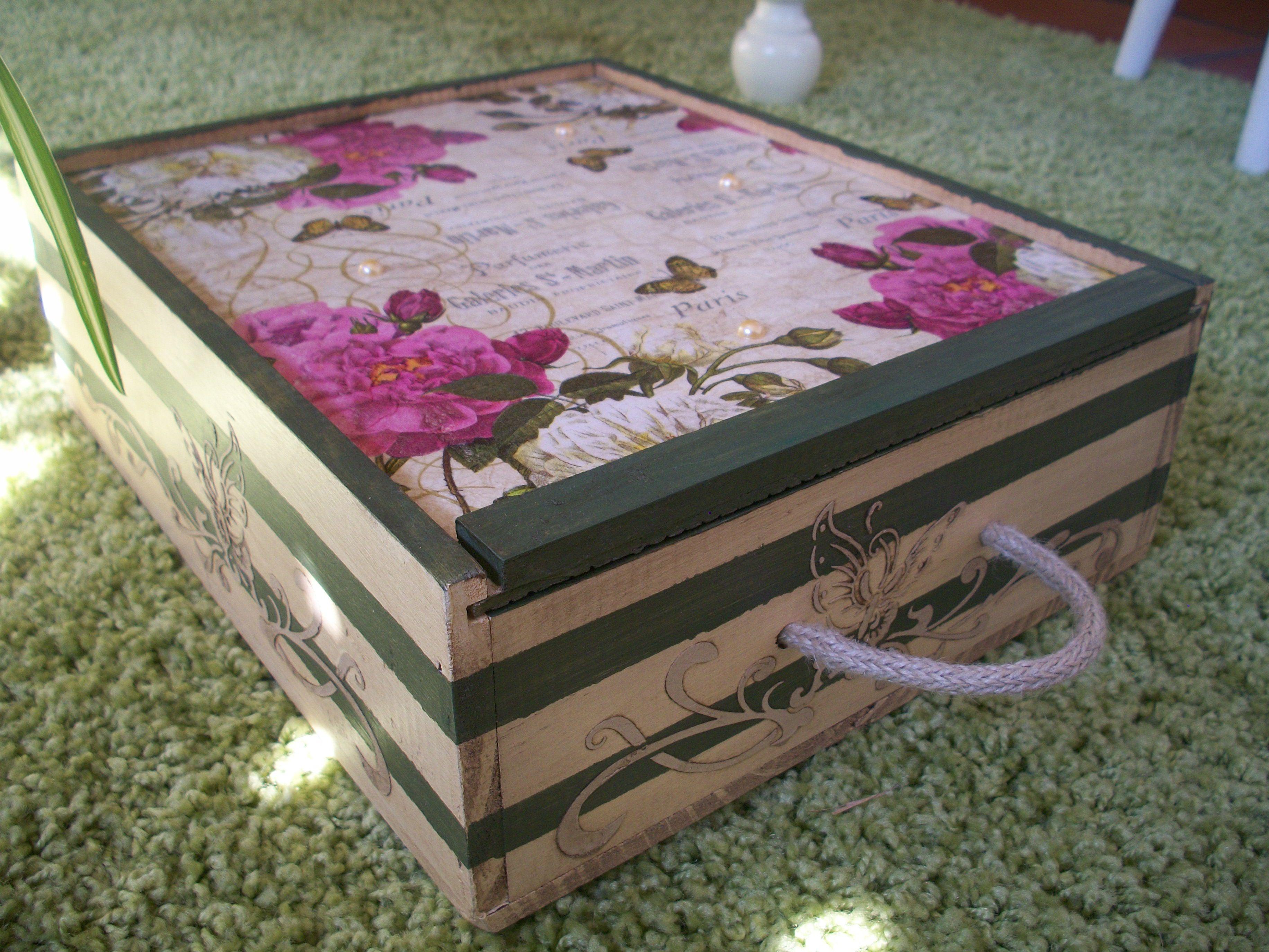 Caja de vino decorada Cajas Pinterest