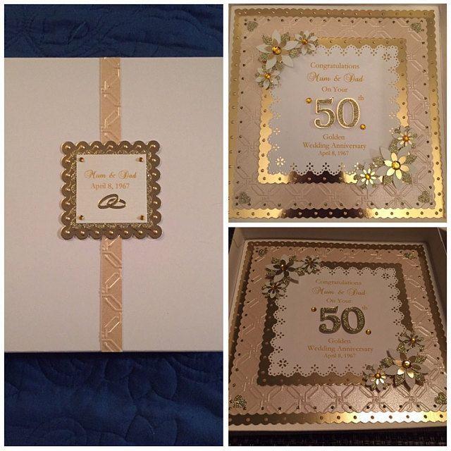 golden 50th wedding anniversary card for wifehusbandmum