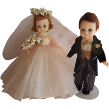 SWEET 1958-59 Madame Alexander Wendy Pink Bride and Groom Alexanderkins