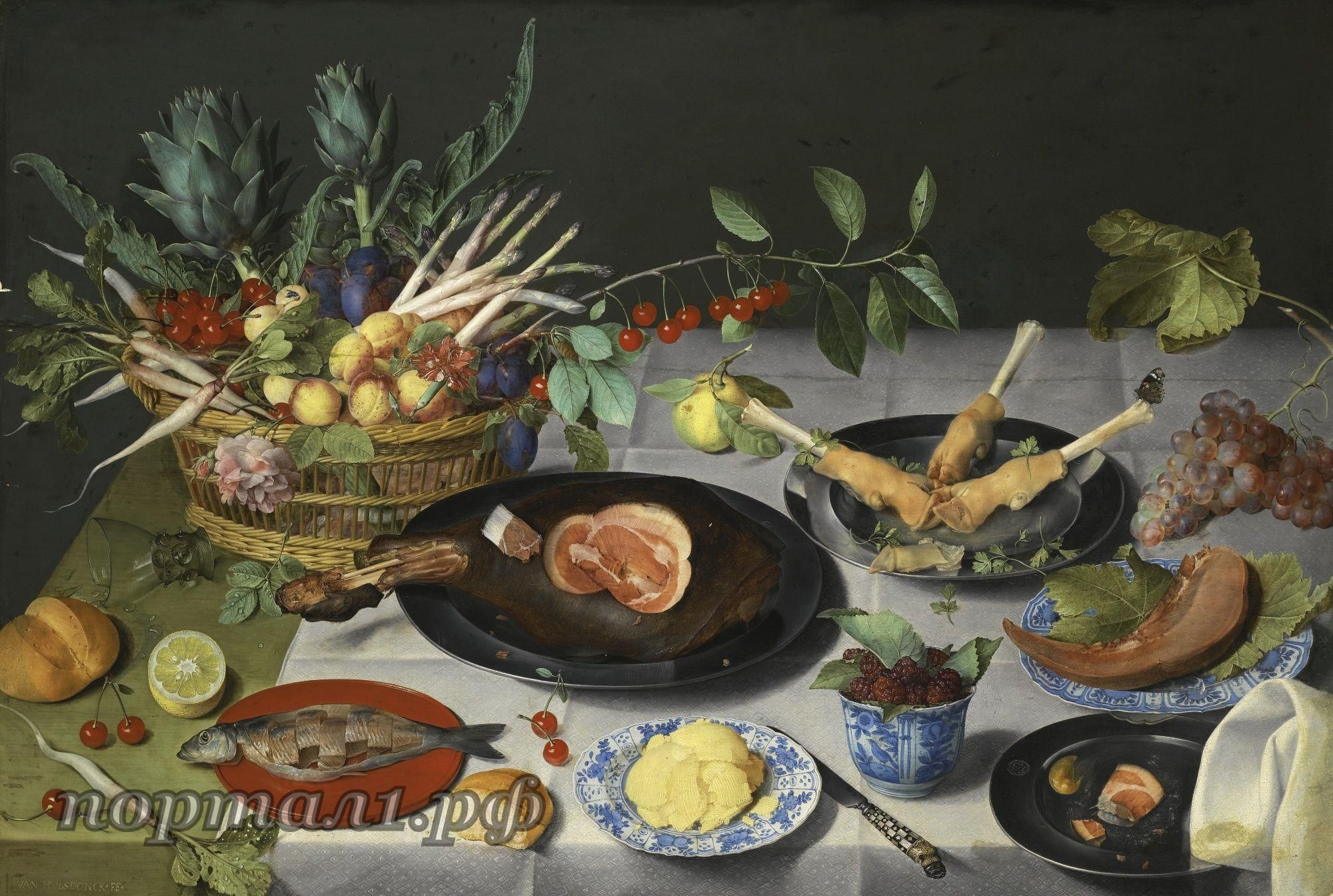 JACOB VAN HULSDONCKANTWERP 1582 - 1647A STILL LIFE WITH ARTICHOKES, RADISHES, ASPARAGUS, PLUMS, CHERRIES AND PEACHES IN A BASKET, TOGETHER WITH A HAM AND PIG'S TROTTERS ON PEWTER PLATE