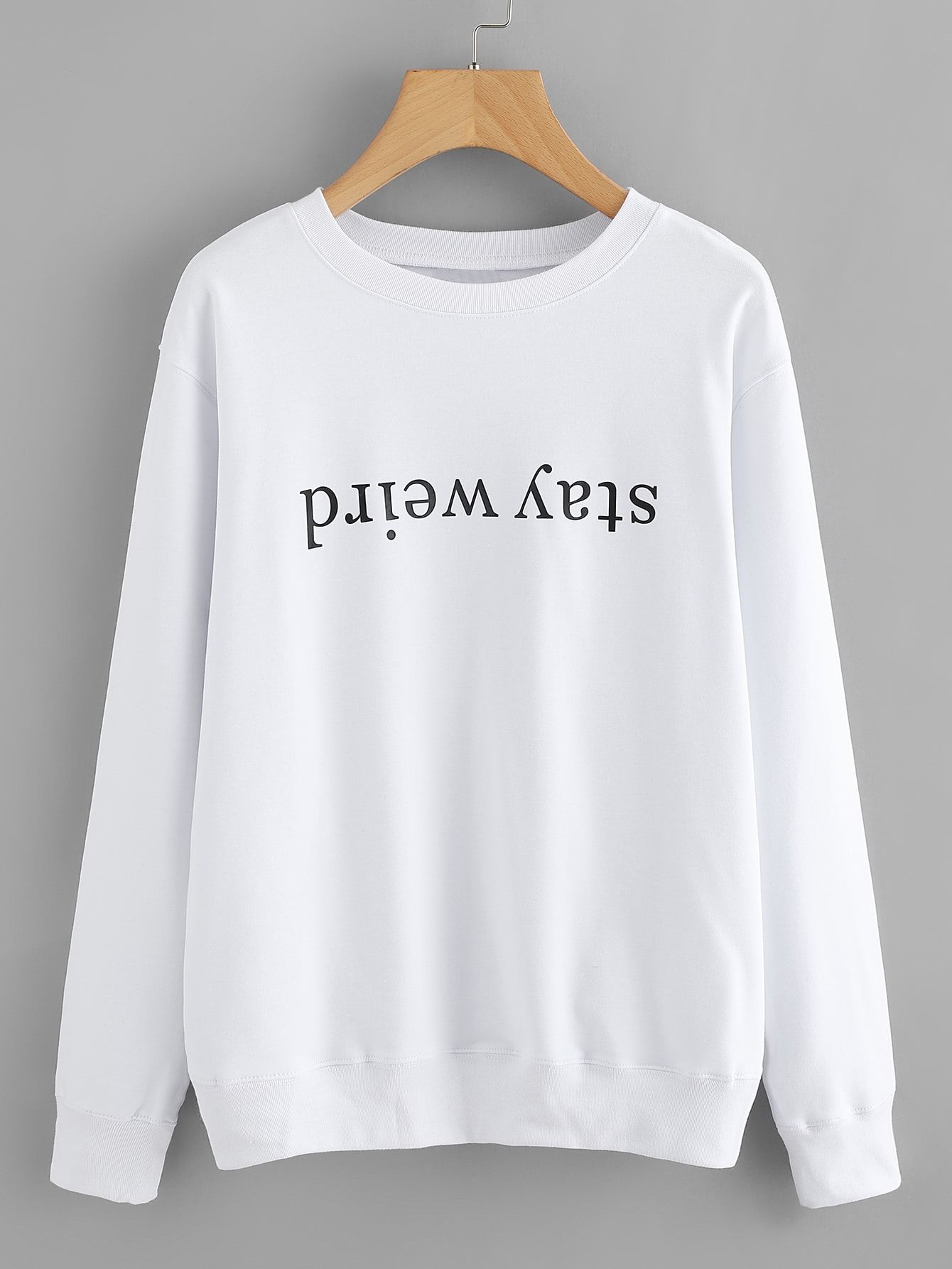 Letter Print Sweatshirt Shein Sheinside Clothes Pinterest