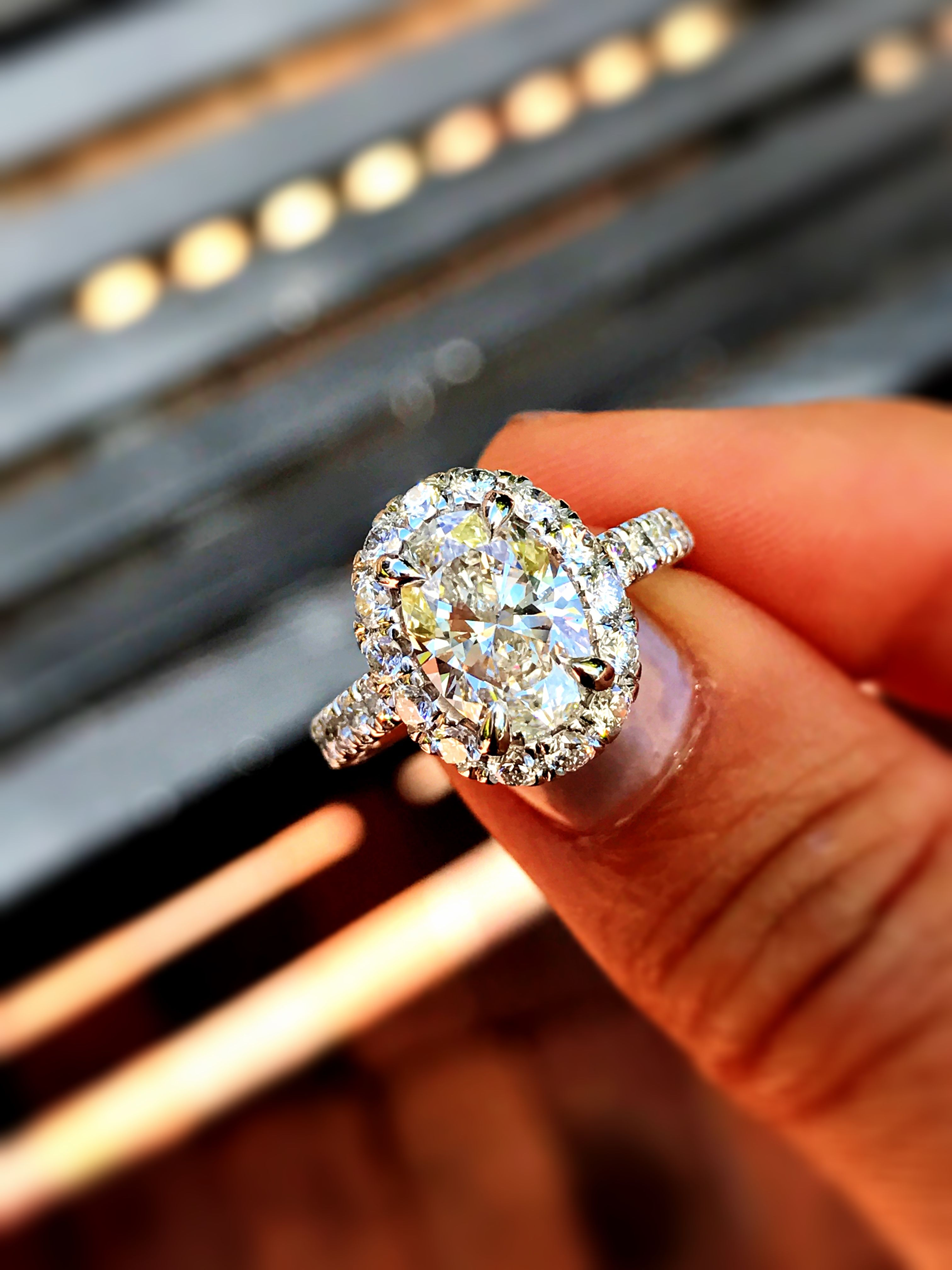 58fd4b82e Beautiful pave halo engagement ring by Gabriel & Co, with a fine 1.5ct oval  center.