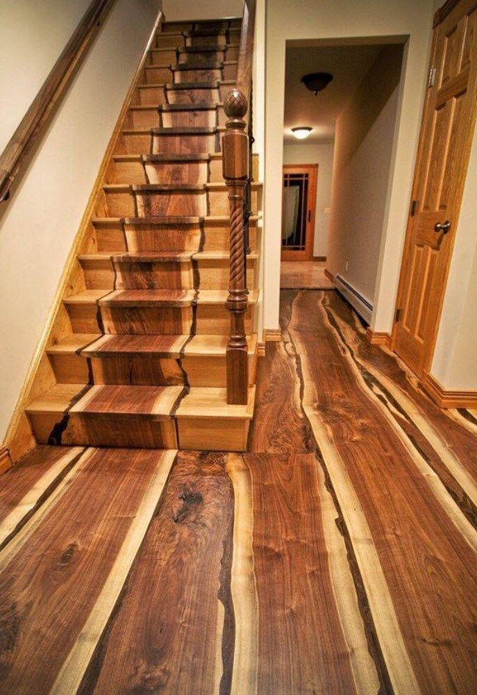 Beautiful Wooden Stairs With The Wood Inlaid Into The Construction To Look  Like A Runner.