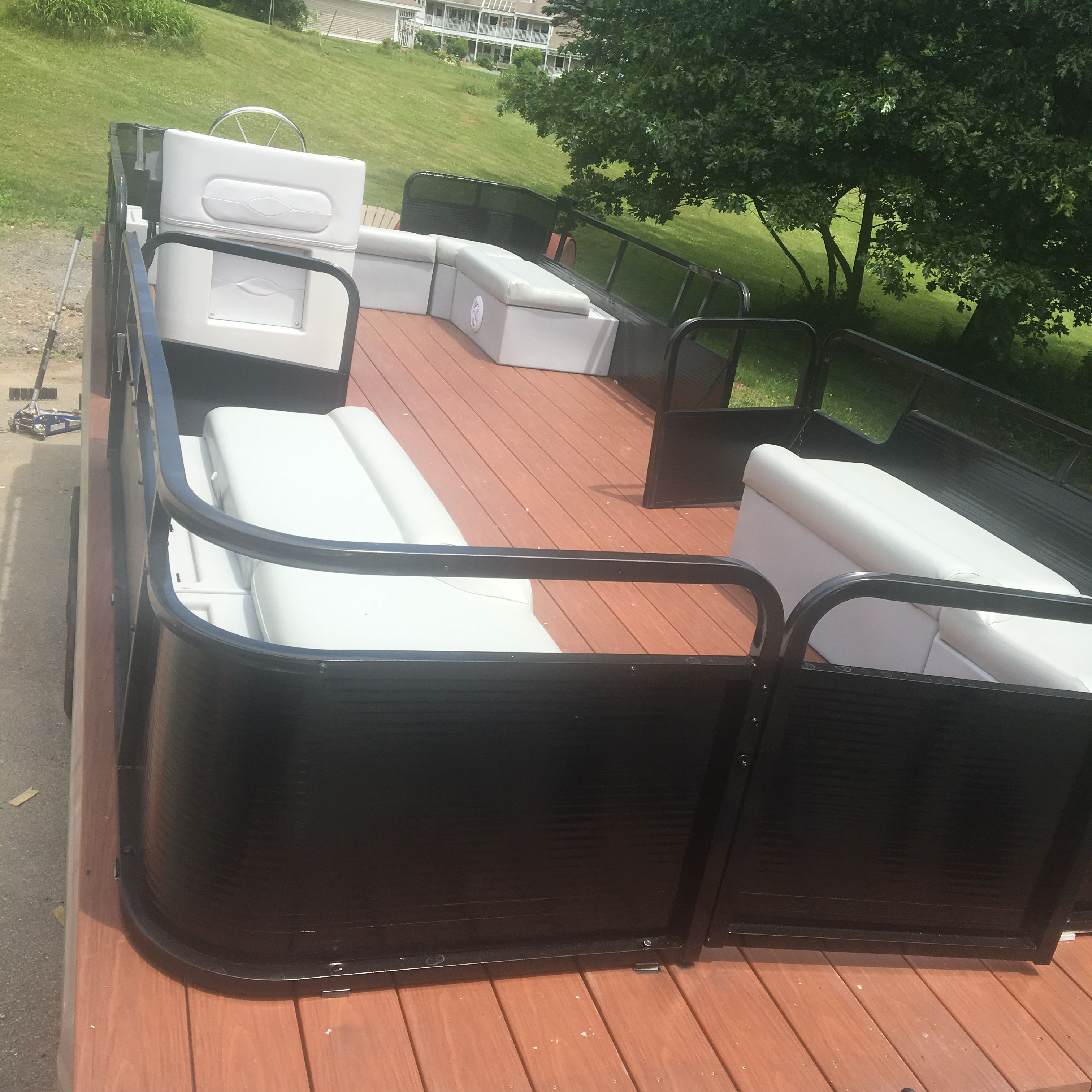 Pontoon Restoration Almost Complete Trex Flooring New Playpen Paint And Seat Reupholstering Pontoon Boat Seats Fishing Pontoon Pontoon Boat