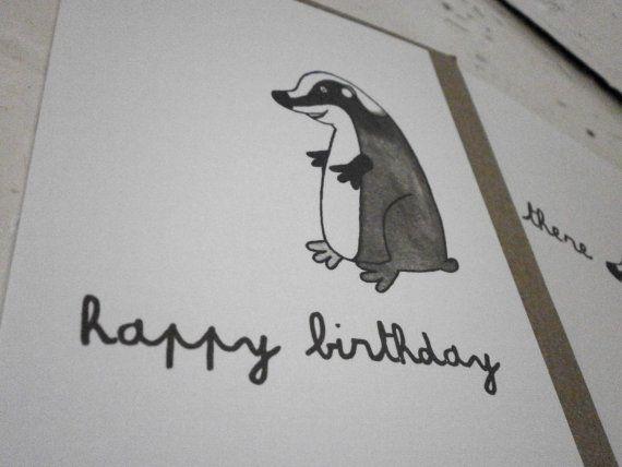 Happy Birthday Badger Card Birthday Cards Cards Etsy