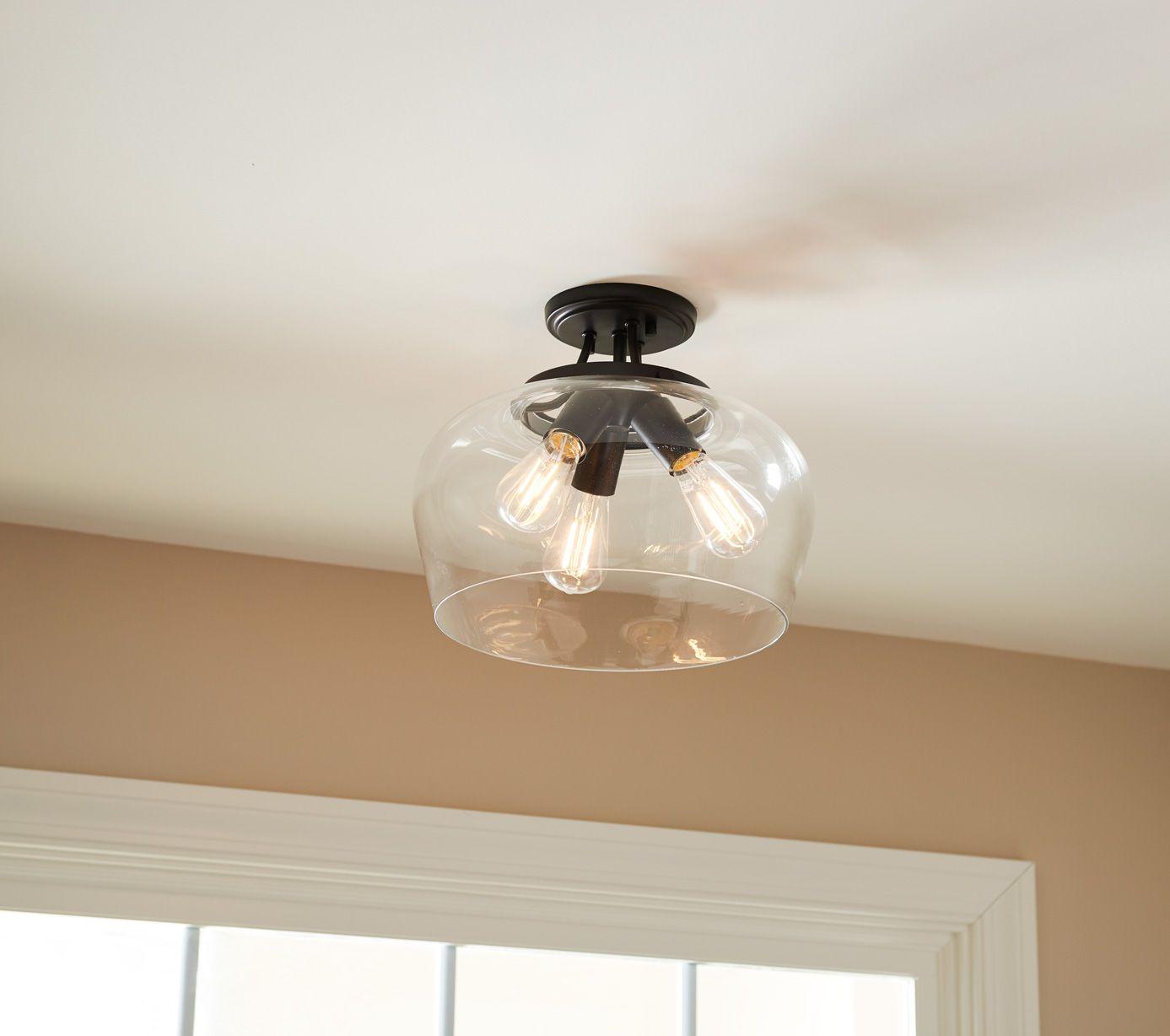 Savoy House Octave 3 Light Semi Flush Ceiling Light In Black In