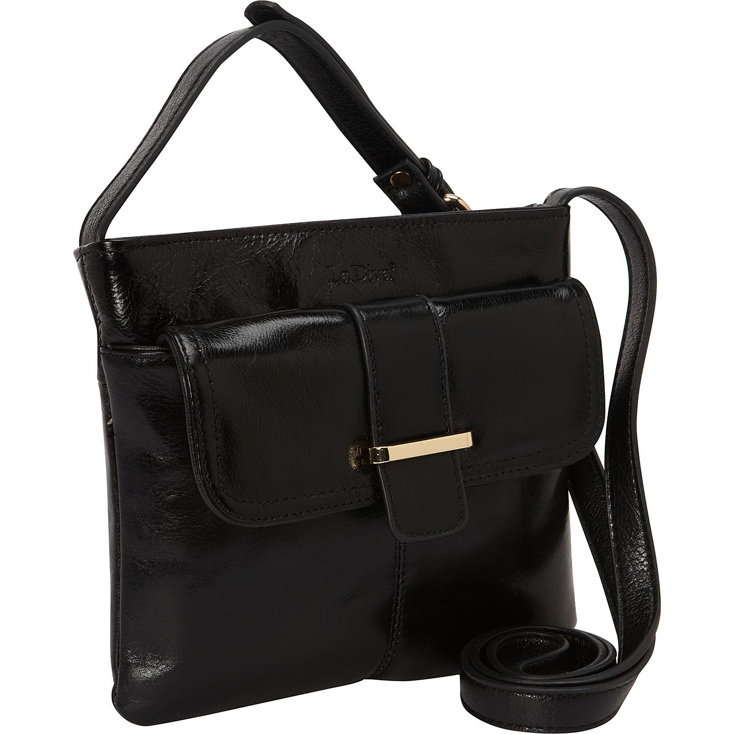 904a2f7108 La Diva Leather Small Cross-Body Bag with Front Buckle in BLACK  handbag   leather