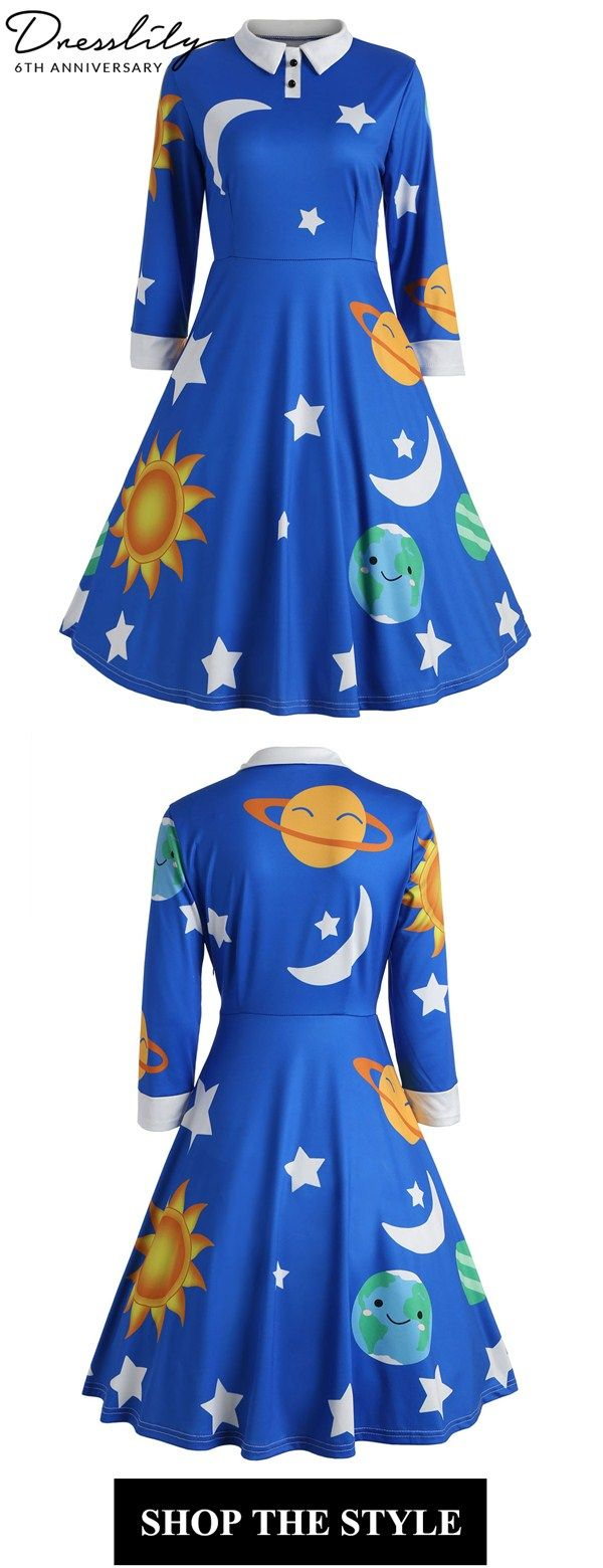 1824b2b9aae Play around with this wonderful dress in sun moon star and earth pattern.  Full of fun and funky