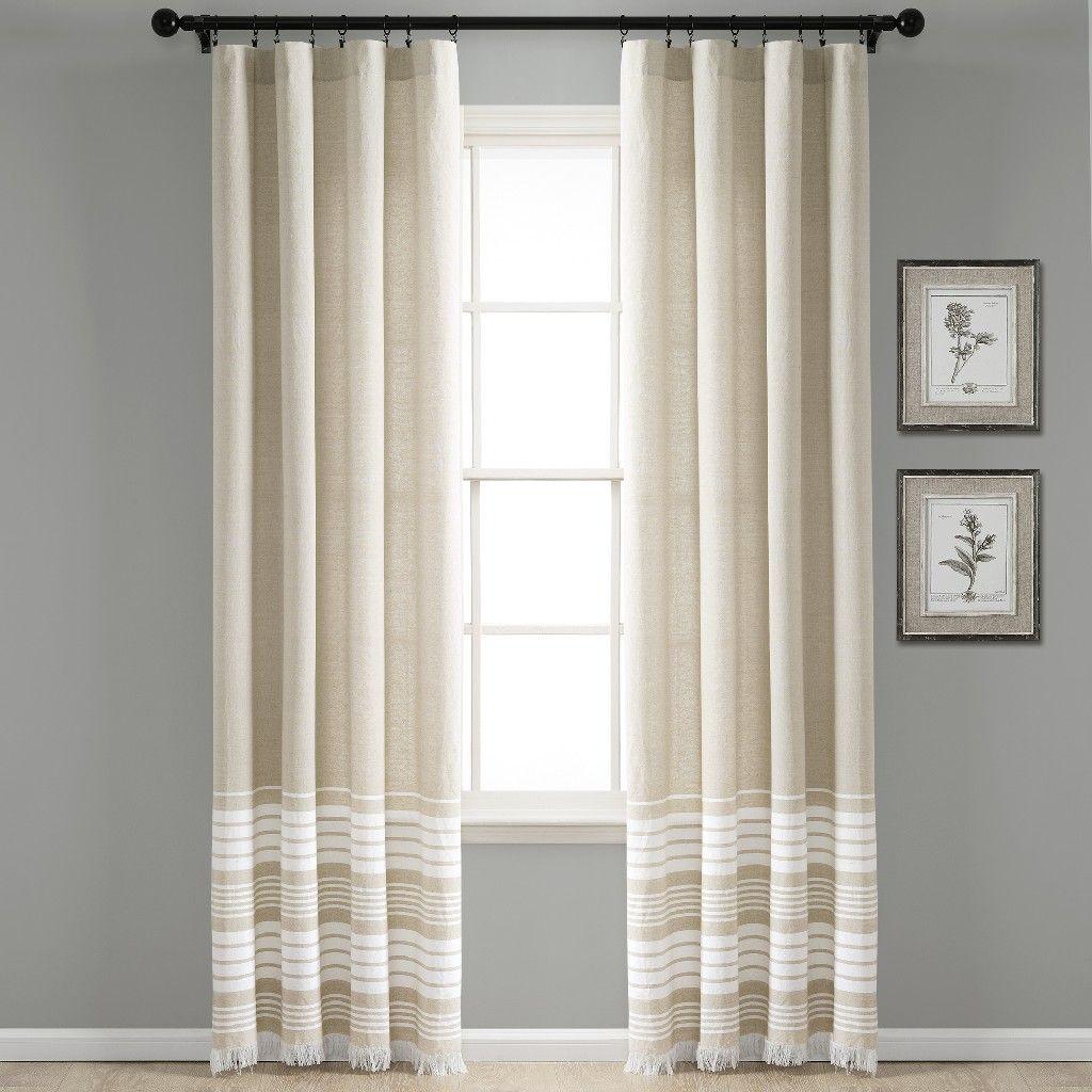 Nantucket Yarn Dyed Cotton Tassel Fringe Window Curtain Panels Taupe 40X95 Set - Lush Decor 16T004550 #curtainfringe