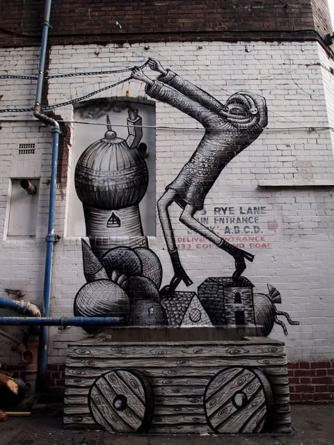 Phlegm is a Sheffield-based street artist known for his distinctive comic book style murals.