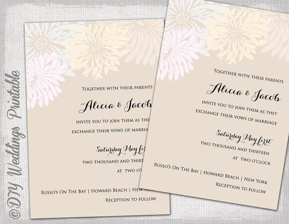 Printable Wedding Invitation Templates Vintage Pastels Flower