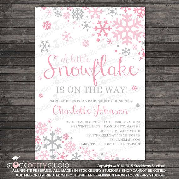 Snowflake Baby Shower Invitation Printable By Stockberrystudio Winter Baby Shower Invitations Winter Girl Baby Shower Winter Wonderland Baby Shower