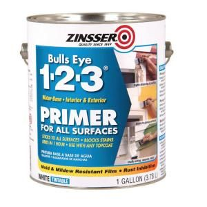 Zinsser Bulls Eye 1 2 3 1 Gal Water Based White Primer Sealer For All Surfaces No Sanding 20 A Gallon Exterior Primer Primer Sealer Zinsser Primer