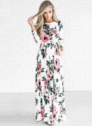 Vestidos Mezclas de algodón Floral Hasta los tobillos Manga larga ... 1dedc8df3456