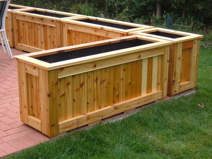 Eight Patio Planters Made From Common Cedar.