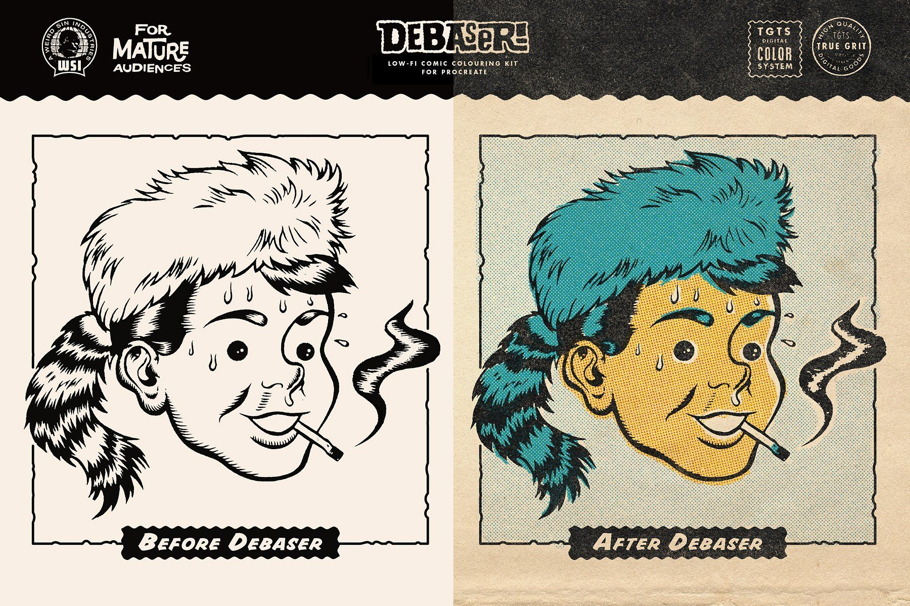DEBASER Comic Color Kit - Procreate Actions, Brushes