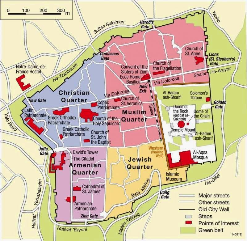 map olf old jerusalem four quarters | Jerusalem map, Jerusalem ...