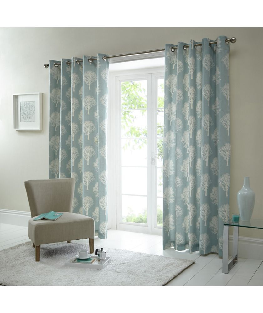 Buy fusion woodland trees curtains xcm duck egg at argos