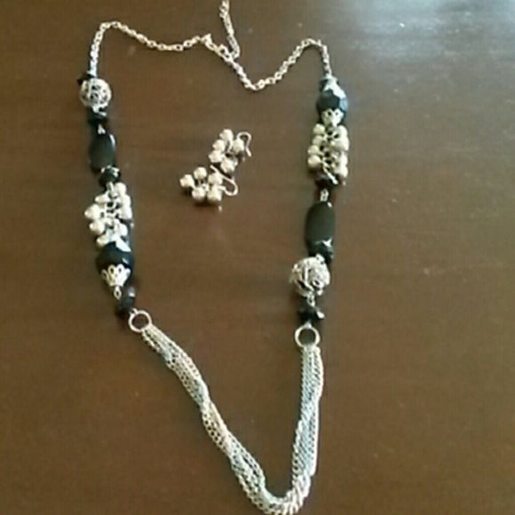 Necklace & earrings Long black and silver accent necklace with silver dangle eartings Jewelry
