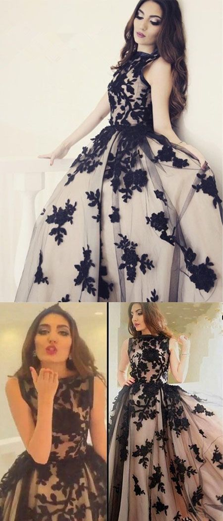 2017 High Quality New Arrival A-Line Round Neck Black Lace Long Prom Dress