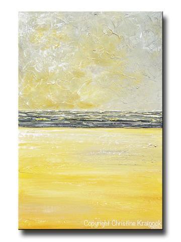 Original Art Yellow Grey Abstract Painting Modern Textured Coastal