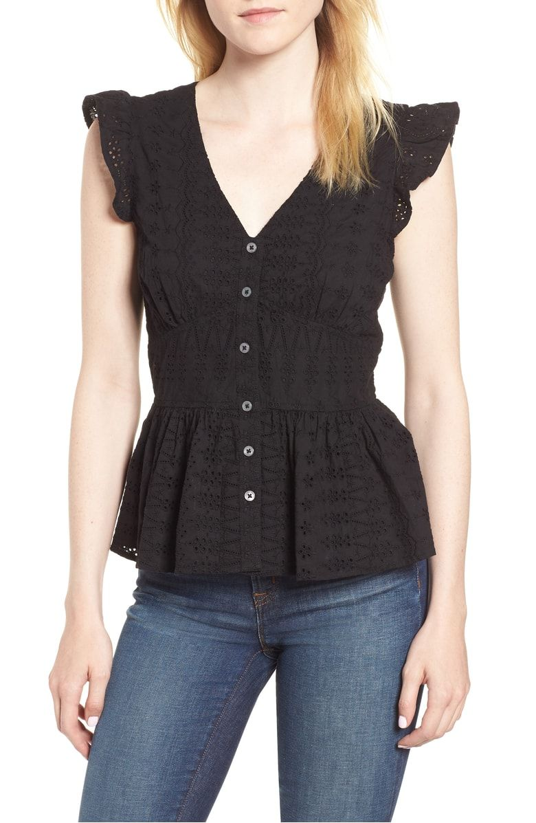 J.Crew Flutter Sleeve Eyelet Top, Main, color, Black