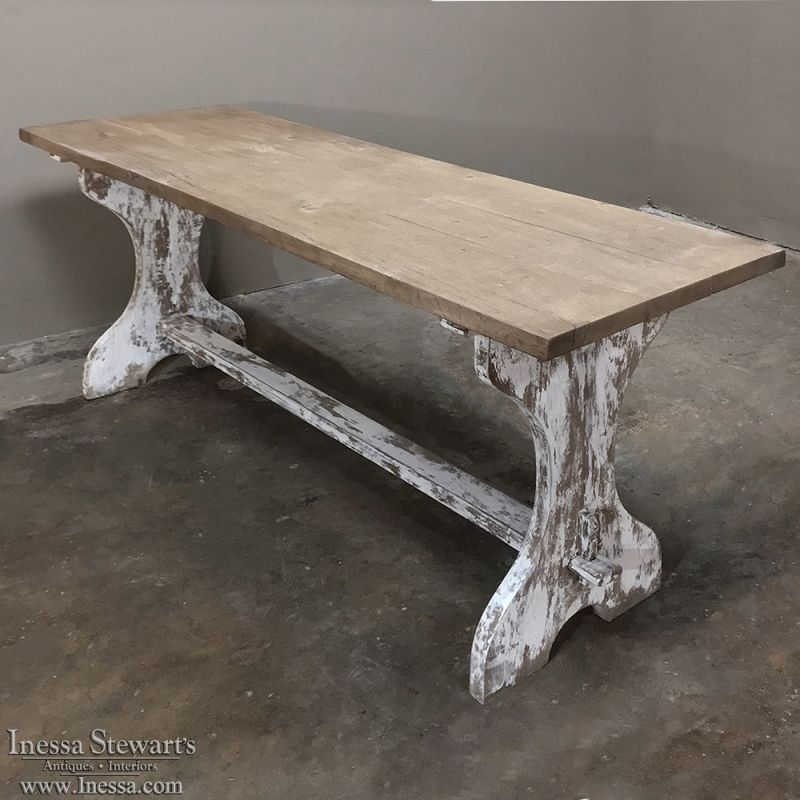Antique Rustic Painted Country French Trestle Table Sofa Table