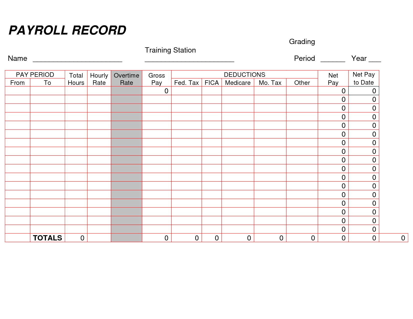 Printable Payroll Ledger Blank Payroll Record