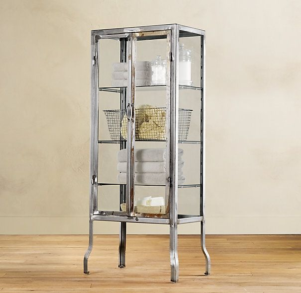 Pharmacy Large Bath Cabinet Burnished Steel Possibly Use For Bar And Pretty Serving Pieces