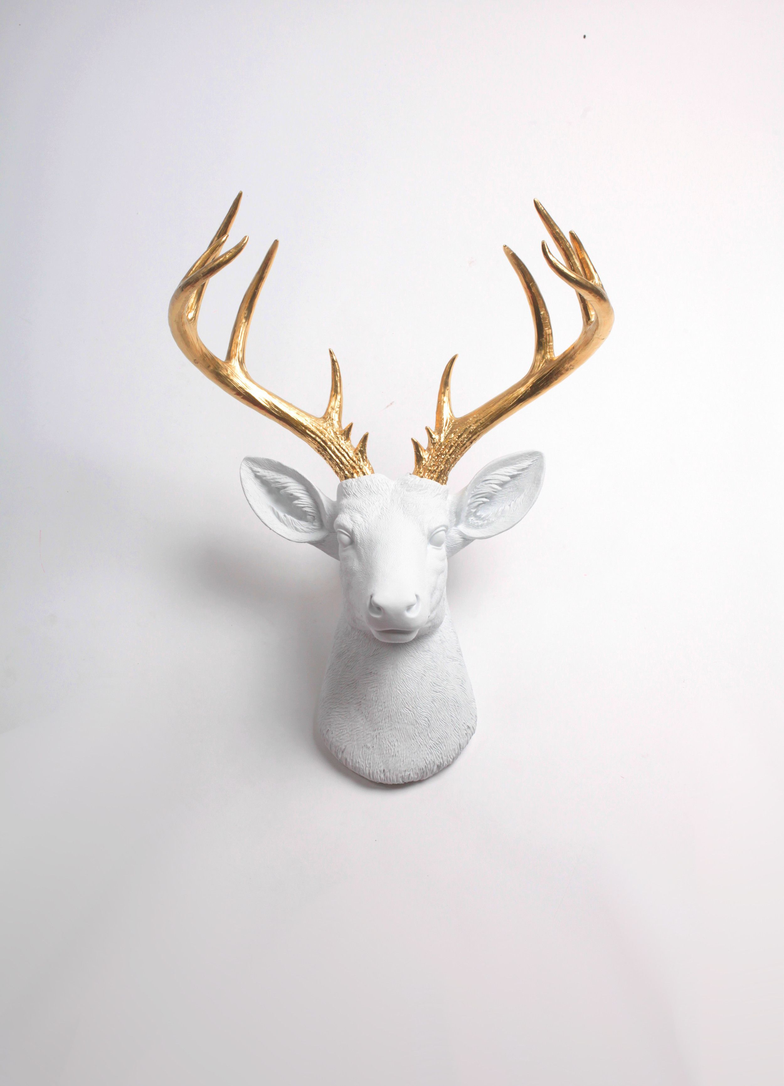 The Xl Alfred Modern Deer Head By White Faux Taxidermy White Deer W Gold Antlers Faux Deer Head Deer Heads Wall Deer Head Wall Decor