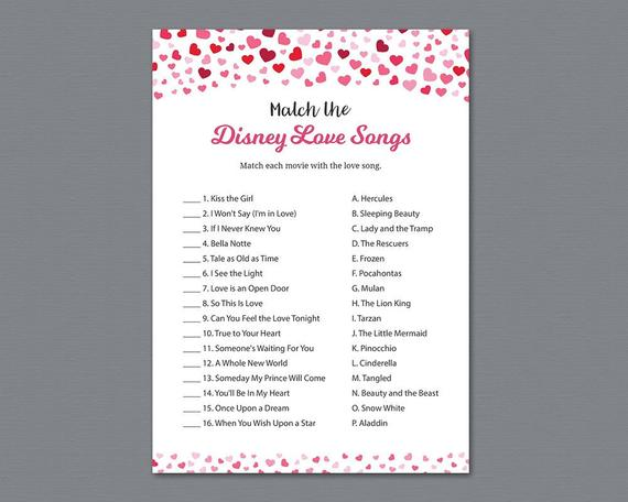 Valentine Bridal Shower, Match the Disney Love Songs Game Printable
