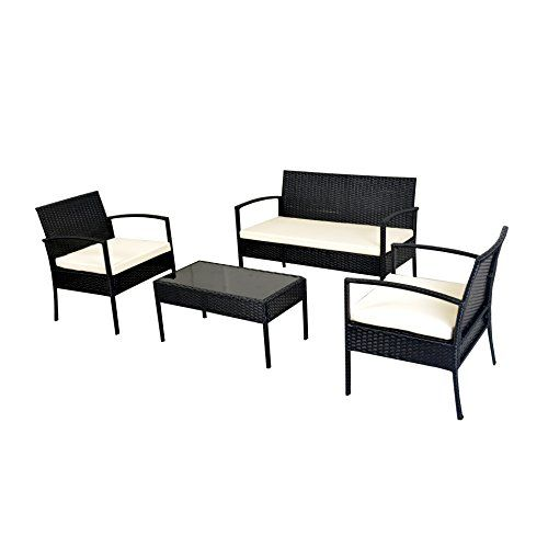 Outdoor Garden Patio 4 Piece Cushioned Seat Black Wicker Sofa Furniture Set Mlm 16402 F24 This Outdoor Patio Set With Two Dining Chairs With Added Cush Sets